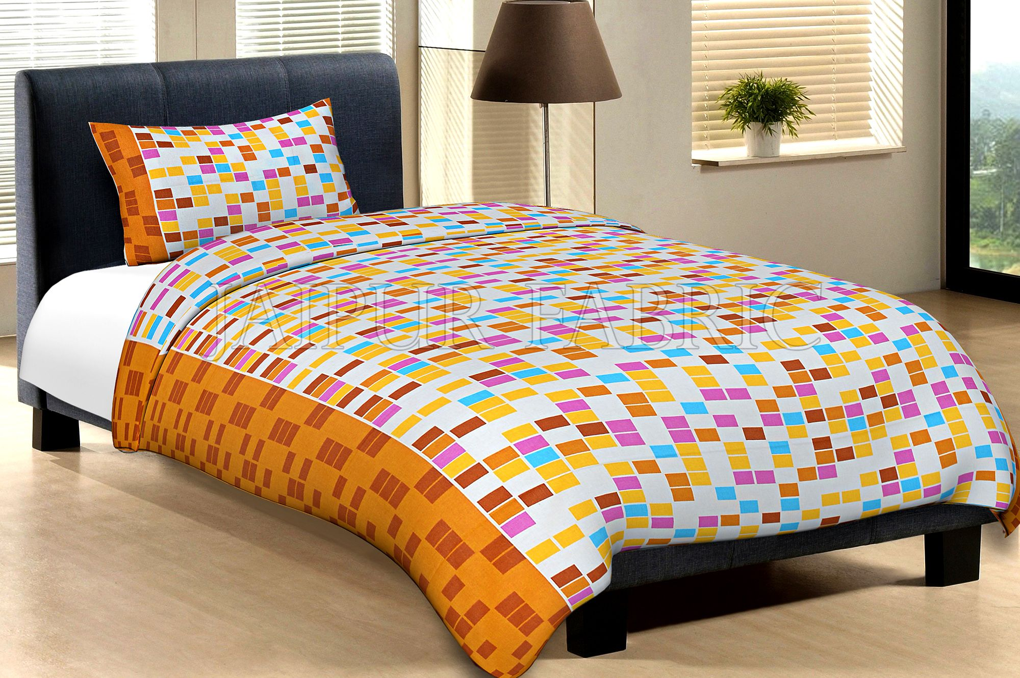 Orange Border Cream Base With Multi Colour Tiny Check Cotton Single Bed Sheet