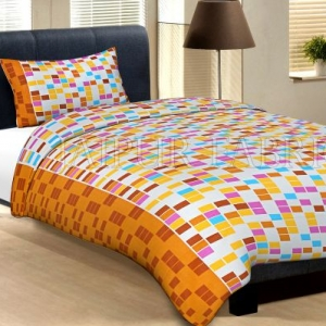 Orange Border Cream Base With Multi Colour Tiny Check Cotton Single Bed Sheet with 1 pillow Cover