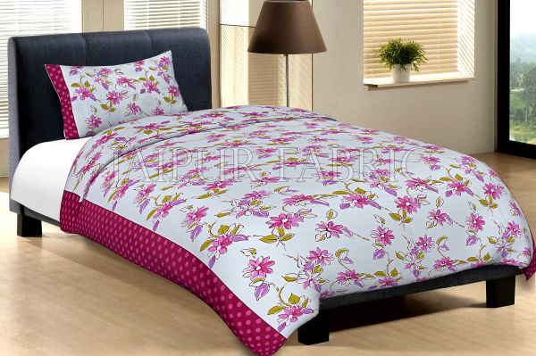 Maroon Border With Pink Polka Dot And White Base With Pink Flower Cotton Single Bed Sheet with
