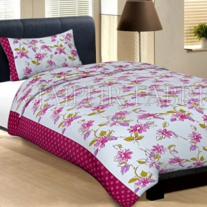 Maroon Border With Pink Polka Dot And White Base With Pink Flower Cotton Single Bed Sheet with 1 pillow Cover