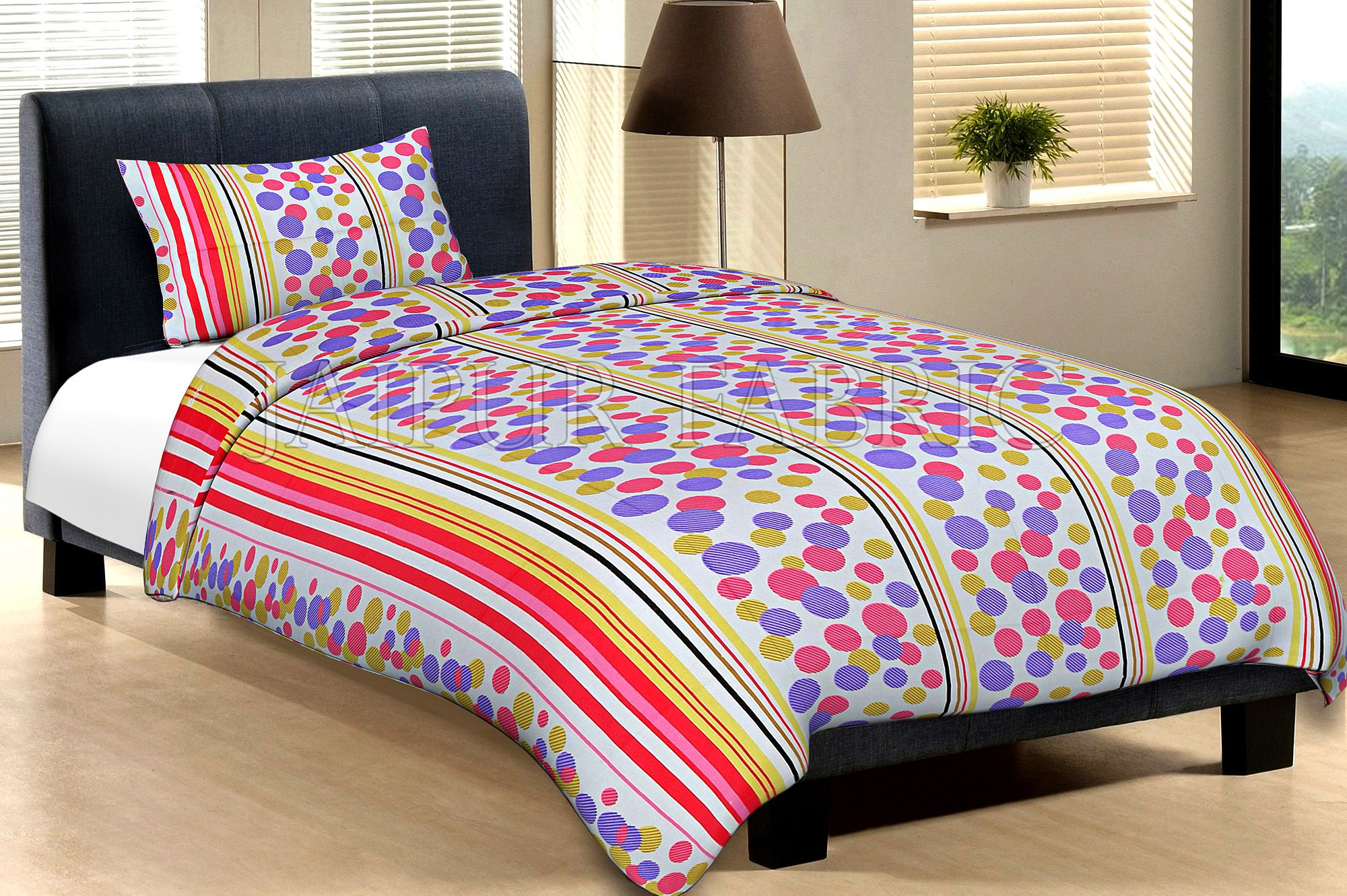 White Base Pink Purple And Yellow Polka Dot And Lining Print Cotton Single Bed Sheet without pillow Cover