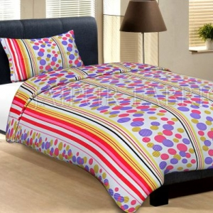 White Base Pink Purple And Yellow Polka Dot And Lining Print Cotton Single Bed Sheet with 1 pillow Cover