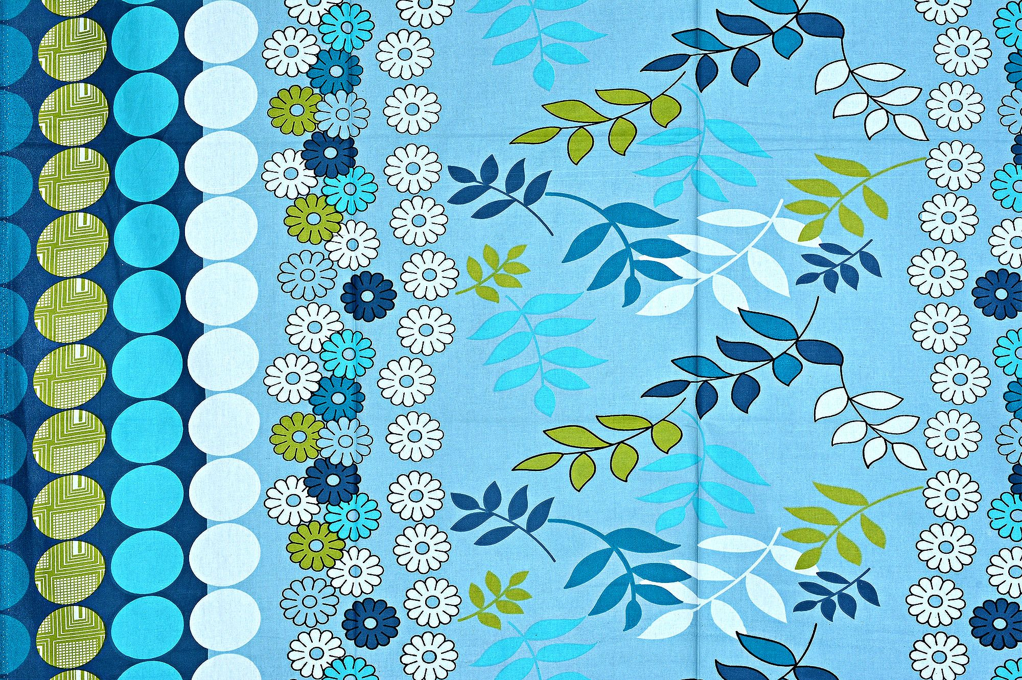 Blue Base Polka Dot Leaf And Flower Print Cotton Single Bed Sheet with 1 pillow Cover