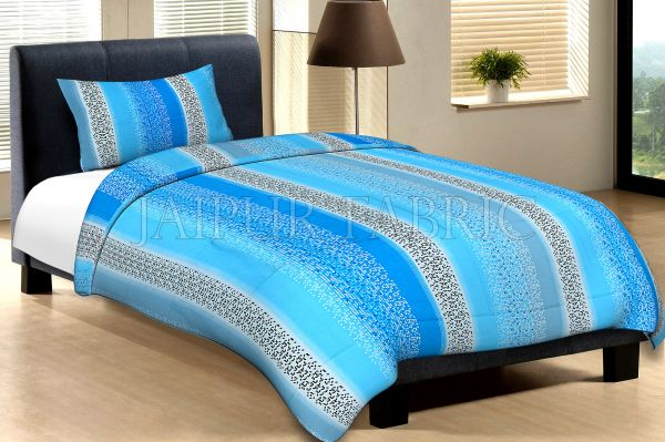 Blue And Sky Blue Broad Lining With Black And White Pigment Print Cotton Single Bed Sheet with 1 pillow Cover