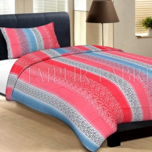 Dark Pink Blue And White Broad Lining With Black And White Pigment Print Cotton Single Bed Sheet with 1 pillow Cover