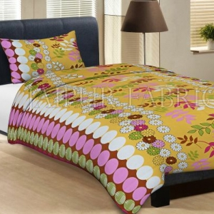 Yellow Base Polka Dot Leaf And Flower Print Cotton Single Bed Sheet with 1 pillow Cover