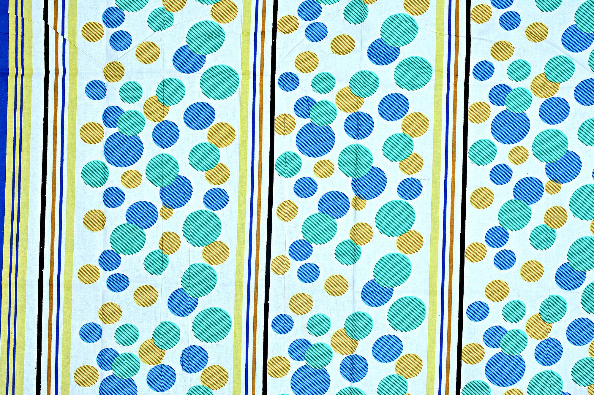 White Base Blue Green And Yellow Polka Dot And Lining Print Cotton Single Bed Sheet without  Pillow Cover