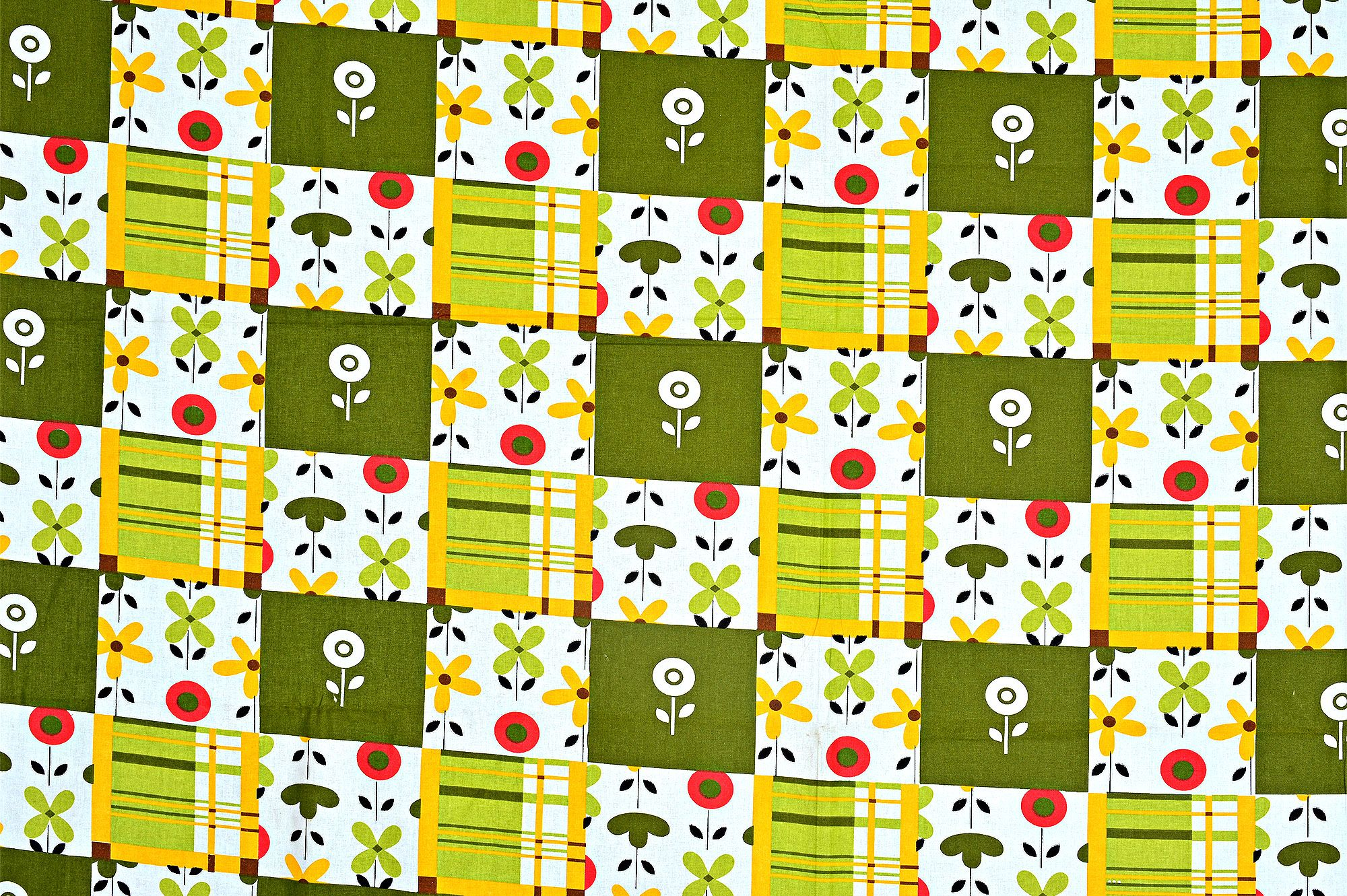 White Base Dark And Light Green Check And Flower Print Cotton Single Bed Sheet with 1 pillow Cover