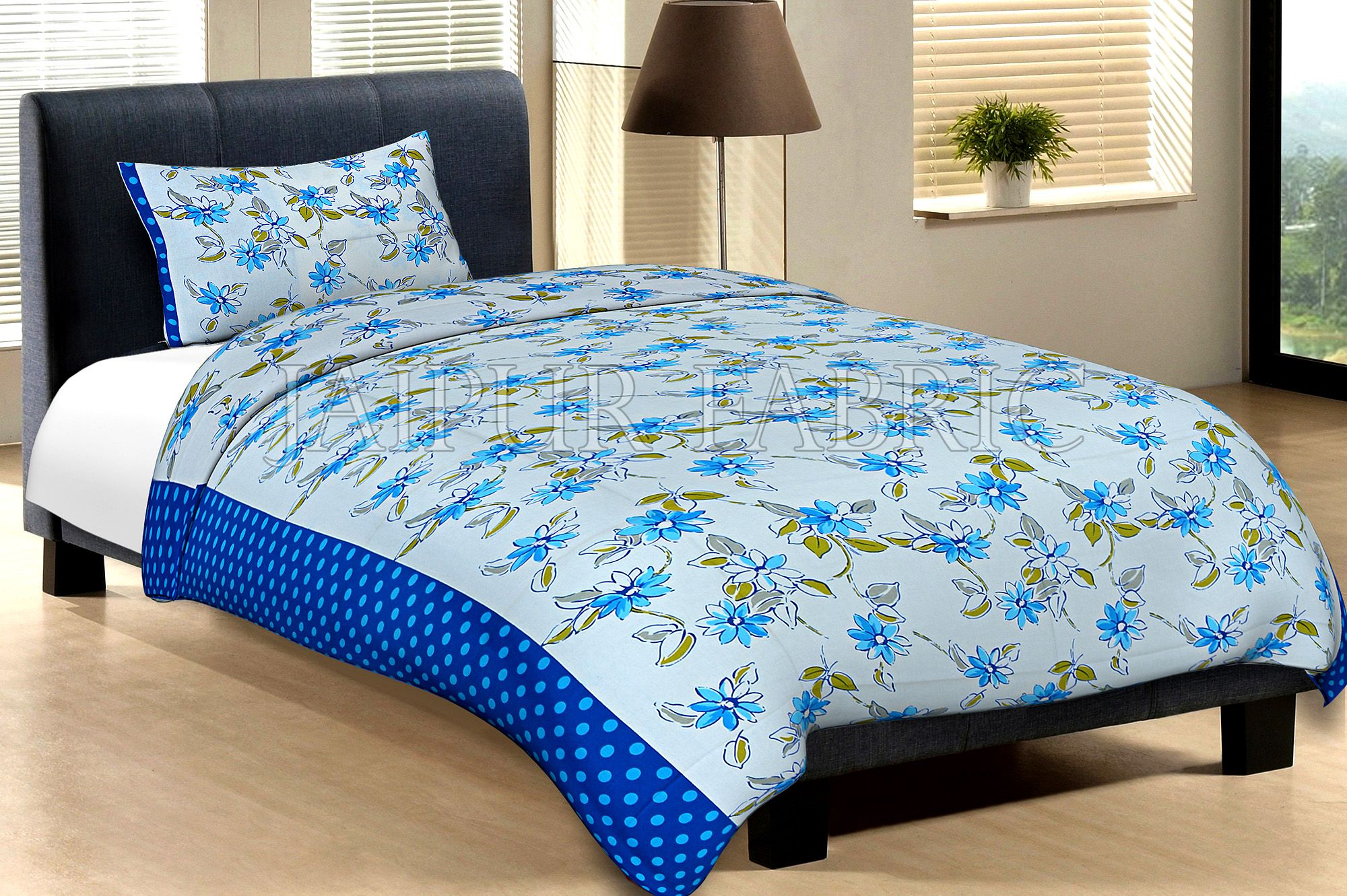 Blue Border With Light Blue  Polka Dot And White Base With Blue Flower Cotton Single Bed Sheet with 1 pillow Cover