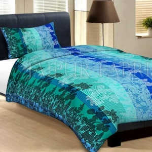 Sea Green Base With White And Black Flower And Lineing Print Cotton Single Bed Sheet with 1 pillow Cover