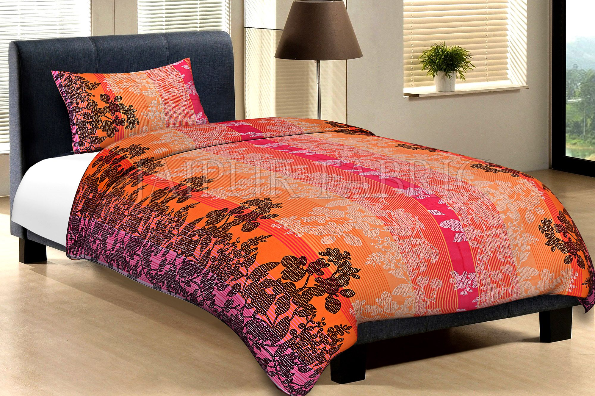 Orange Base With White And Black Flower And Lineing Print Cotton Single Bed Sheet with 1 pillow Cover