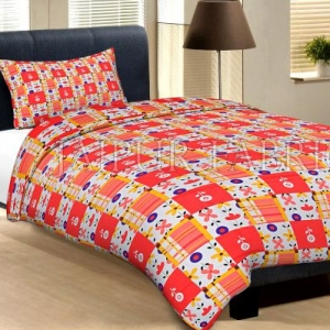 White Base Dark And Light Orange Check And Flower Print Cotton Single Bed Sheet with 1 pillow  Cover