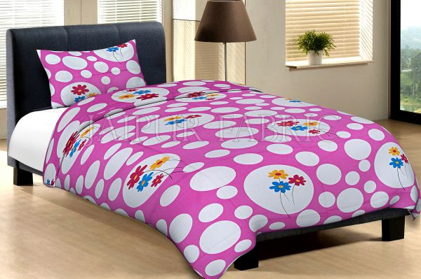Pink Base With Large And Small Polka Dot And Flower Print Cotton Single Bed Sheet with 1 pillow cover