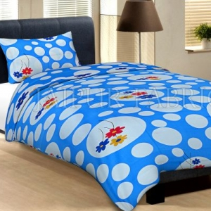 Blue Base With Large Amd Small Polka Dot And Flower Print Cotton Single Bed  Sheet With