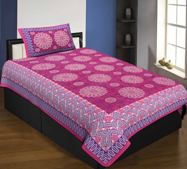 Single Bedsheet Pure Cotton Pink Border Flower Print Zig Zag Pattern