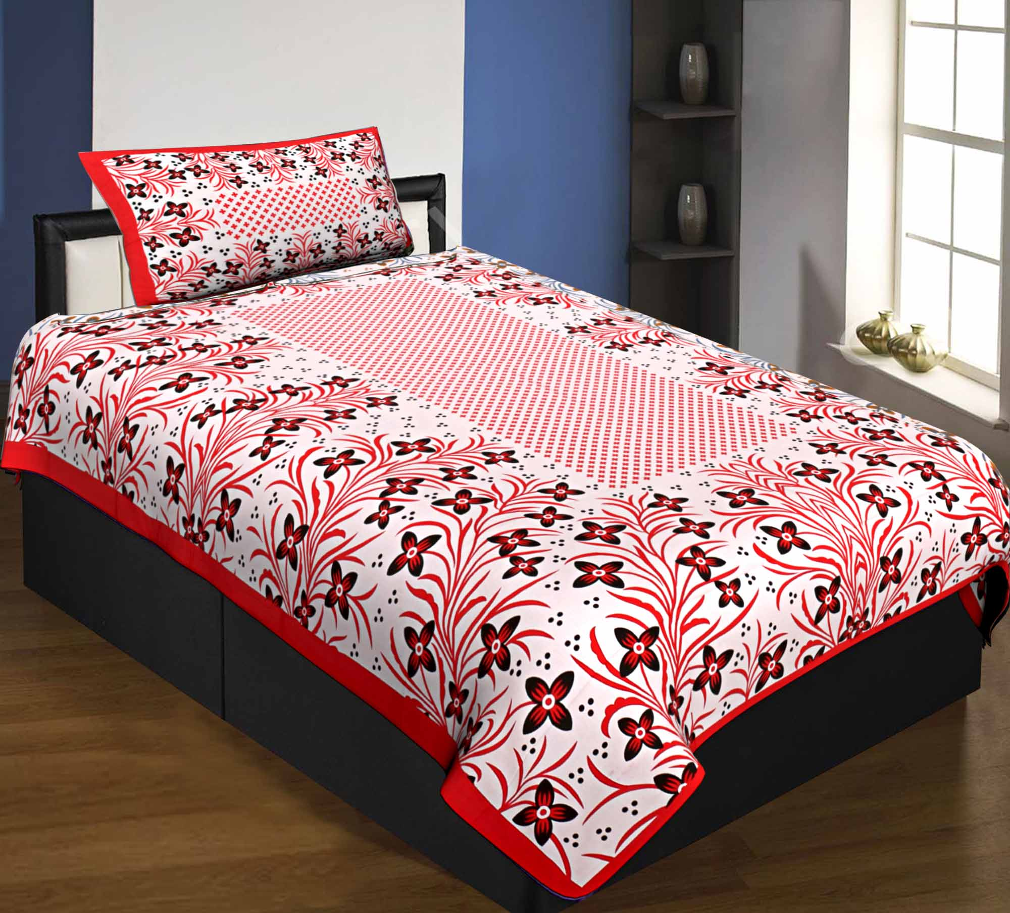 Single Bedsheet Pure Cotton Red Border with Flower and Leaf Pattern