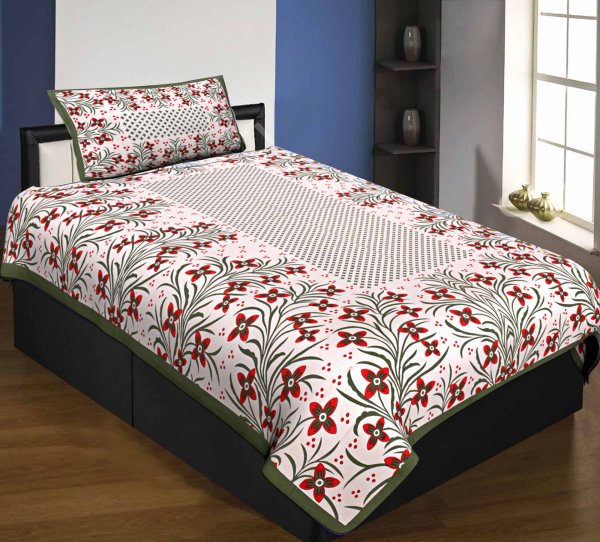 Single Bedsheet Pure Cotton Mehndi  Border with Flower and Leaf Pattern