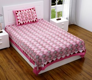 Traditional Delight Pink Single Bedsheet