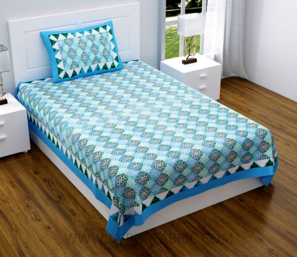 Traditional Delight Blue Single Bedsheet
