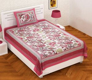 Pink Gala Flowers Single Bedsheet