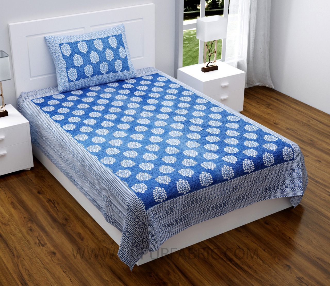 Blue Traditional Badge Single Bedsheet