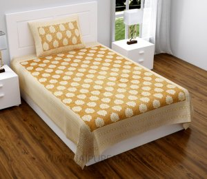 Mustard Traditional Badge Single Bedsheet