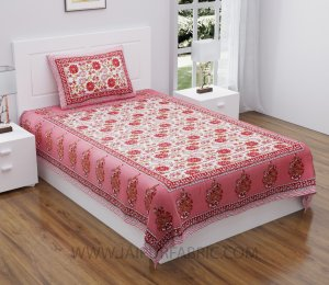 Peach Floral Carnival Single Bedsheet