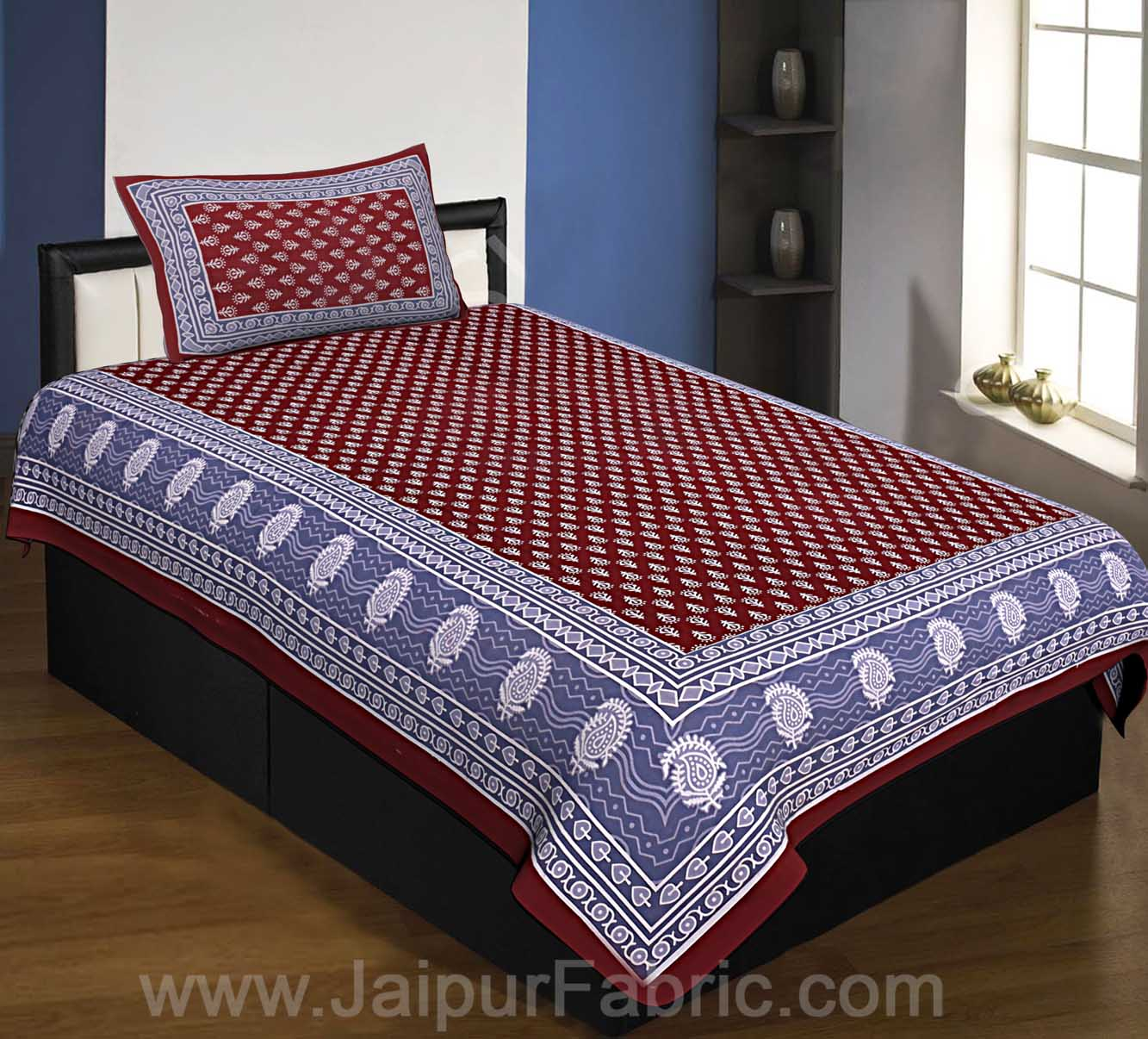 COMBO77- Set of 1 Double Bedsheet and  1 Single Bedsheet With  2+1 Pillow Cover