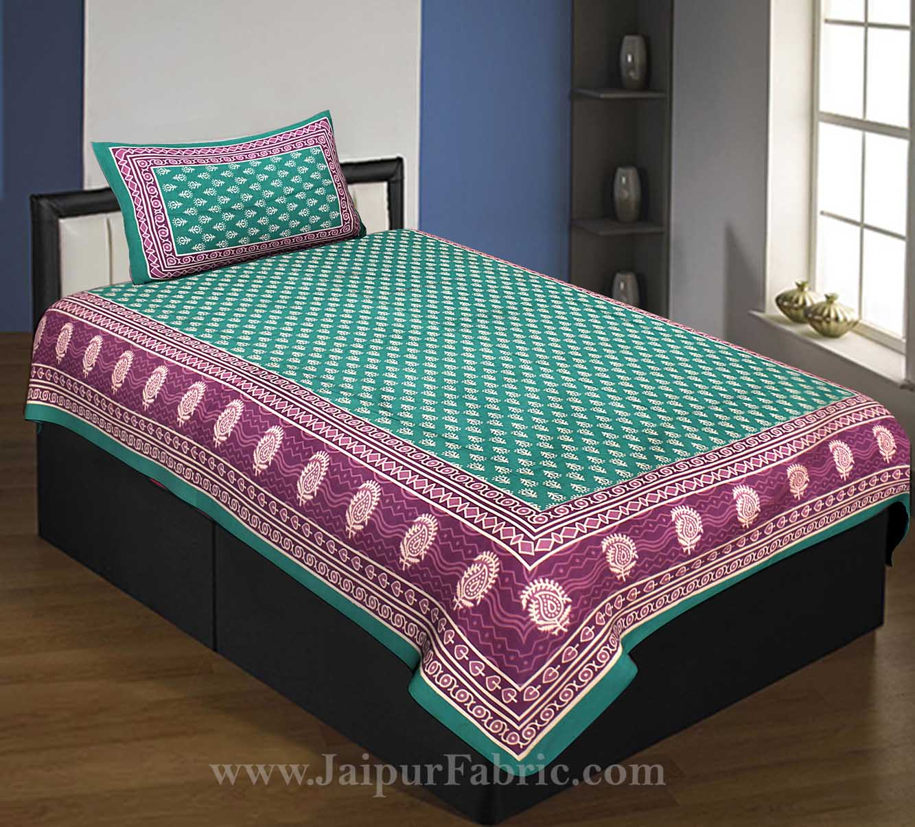 Green Border Leaf Pattern Screen Print Cotton Single Bed Sheet