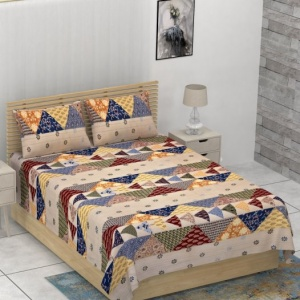 Barmeri Pastel Twill Cotton Single Bedsheet With Two Pillow Cover