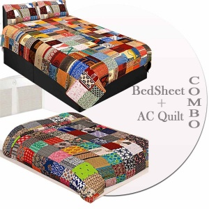 Colorful Multi Patchwork  Matching Combo Set of 1 Single Bedsheet with 2 Pillow  1 Single Comforter
