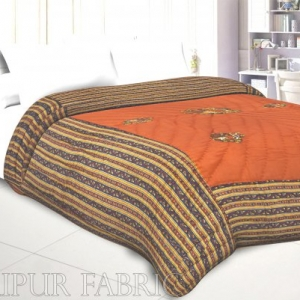 Orange Base Rajasthani Dancing Thread Work Cotton Double Bed Jaipuri Quilt