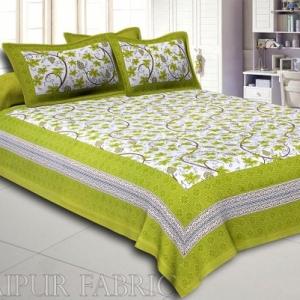 Parrot Green Grape Designer Cotton Double Bed Sheet