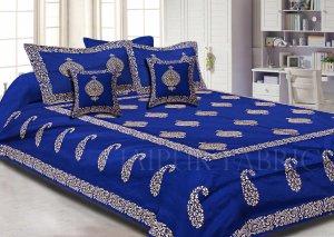 Blue Base Khadi Golden Printed Hand Block Work Silk Double Bed Sheet