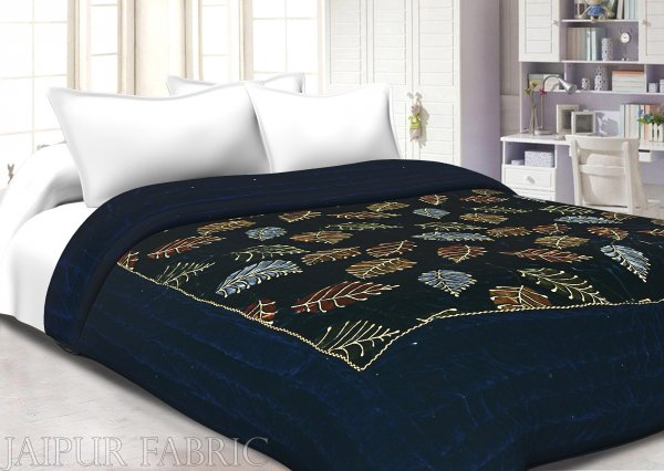 Navy Blue With  Golden Dori Leaf Print  Velvet(Shaneel) Double Quilt