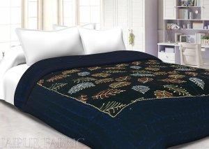 Navy Blue With  Golden Dori Leaf Print  Velvet(Shaneel) Double Quilt
