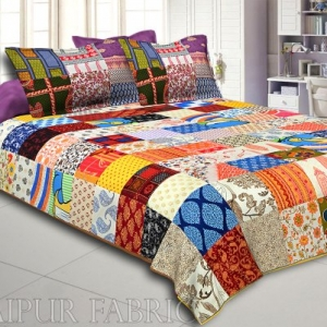 Mix Tukdi Super Fine Cotton Golden Print Double Bedsheet