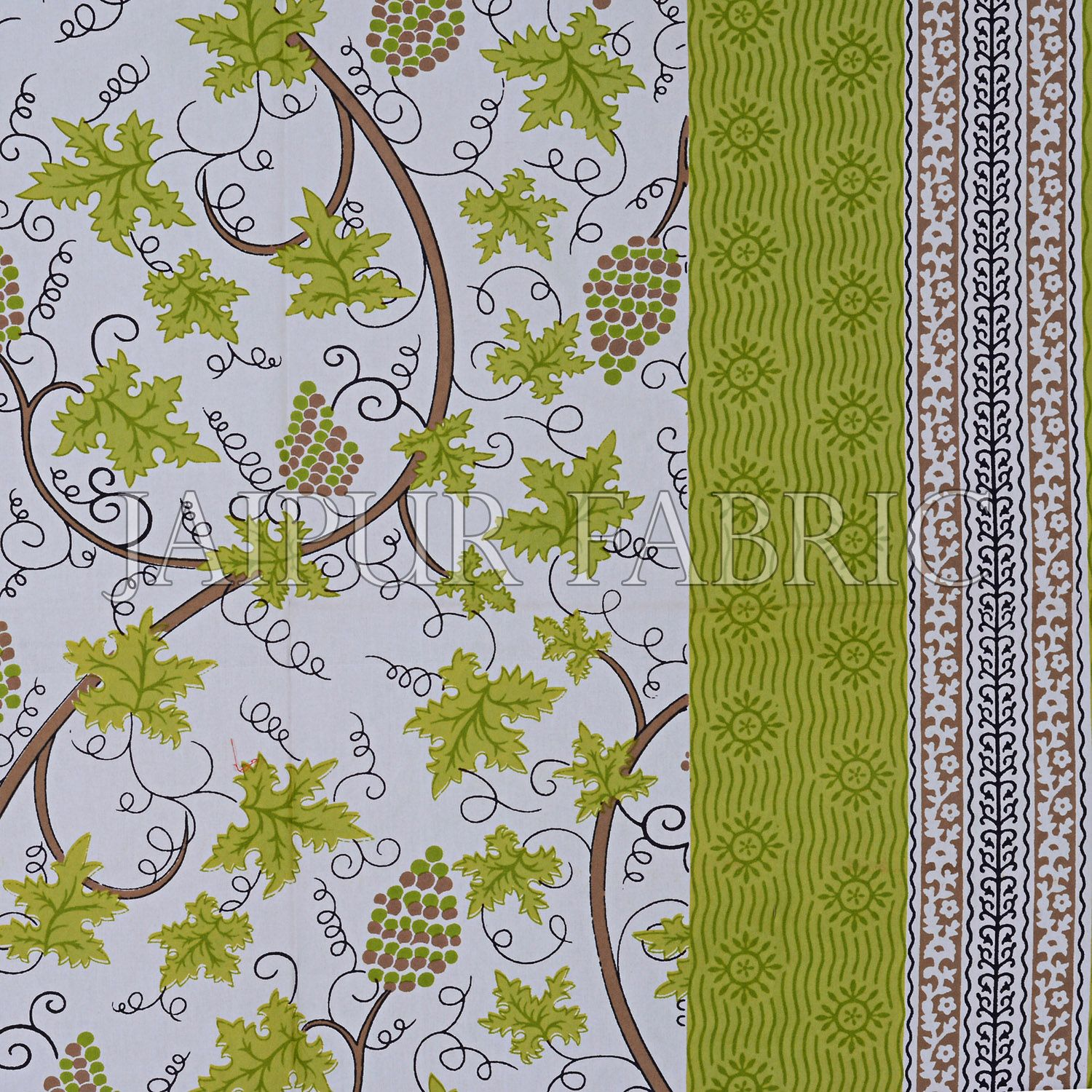 Parrot Green Grape Designer Cotton Double Bed Sheet