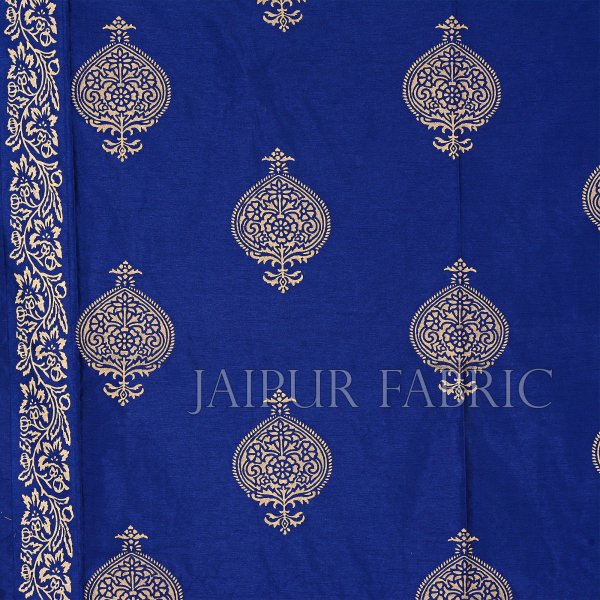 Blue Base Khadi Golden Printed Hand Block Work Silk Double Bed Sheet