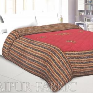 Pink Base Rajasthani Camel Thread Work Cotton Double Bed Jaipuri Quilt