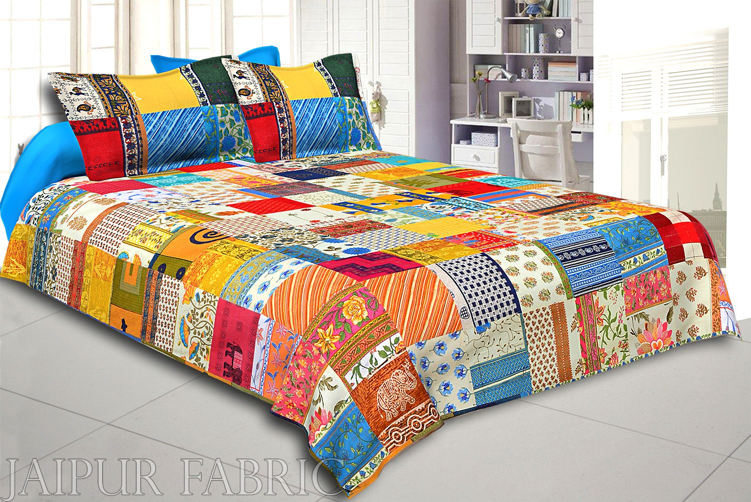 Mix Tukdi Super Fine Cotton Golden Print Double Bedsheet2