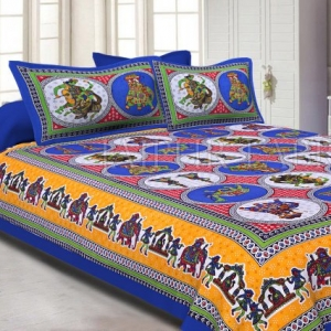 Blue Border Jaipuri Fat Wedding Print Cotton Double Bed Sheet