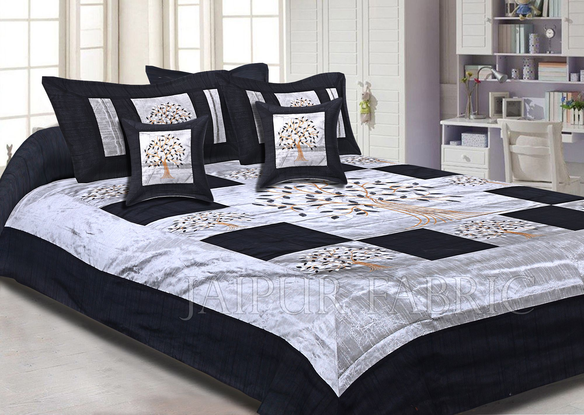 Gray Base Machine Embroidery Black Patch Work Silk Double Bed Sheet