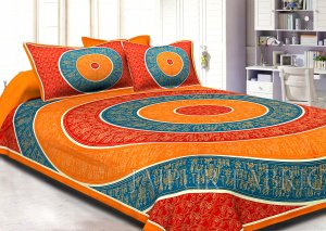 Orange Border Golden Barat In Circle Pattern Super Fine Cotton Double Bedsheet