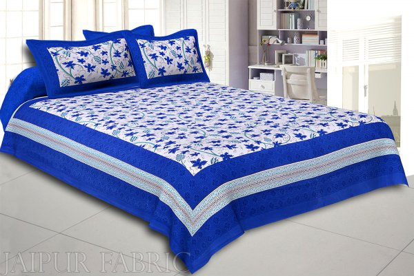 Blue Grape Designer Cotton Double Bed Sheet