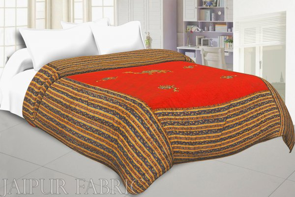 RED Base Rajasthani Dancing Thread Work Cotton Double Bed Jaipuri Quilt