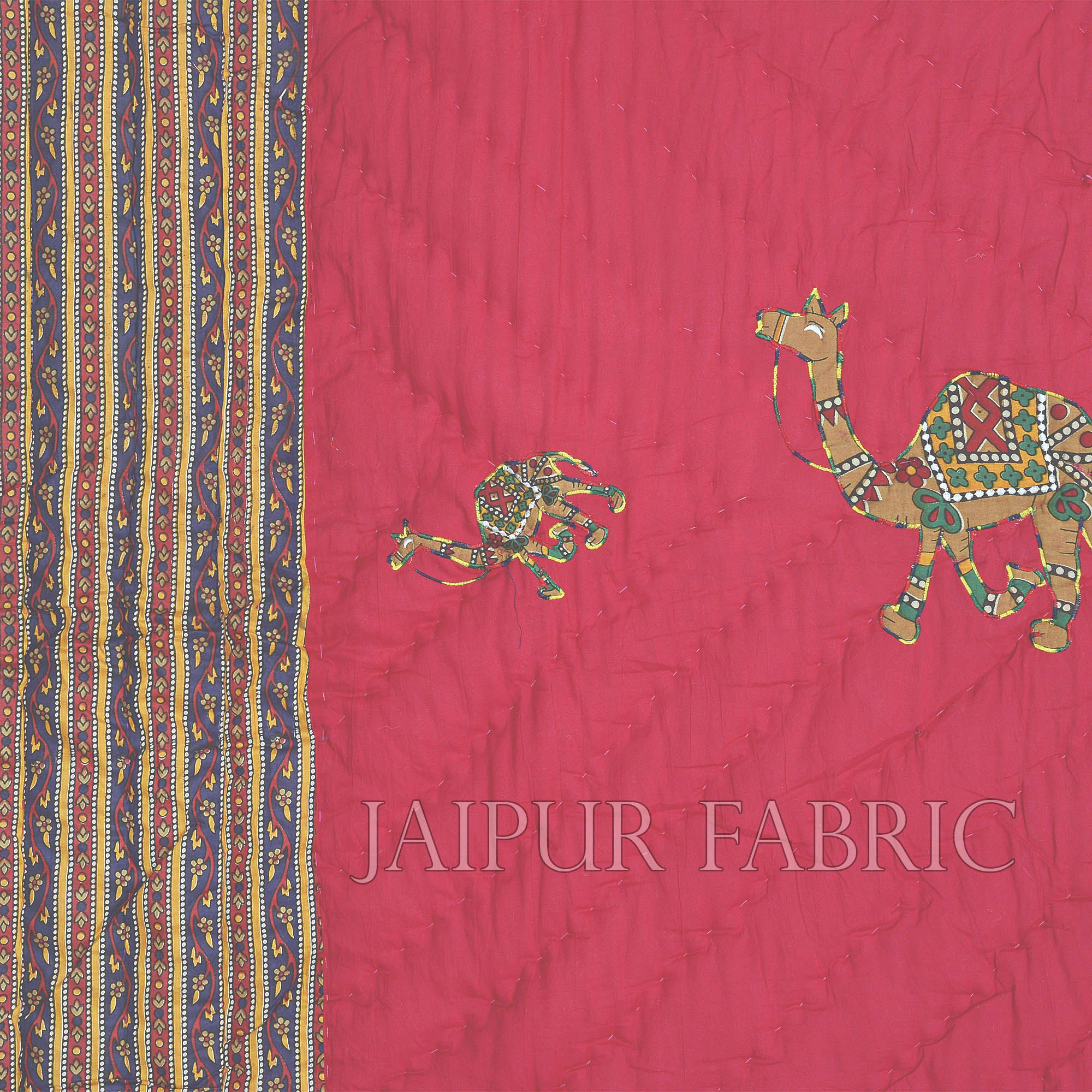 Pink Base Rajasthani Camel Thread Work Cotton Double Bed Jaipuri Quilt