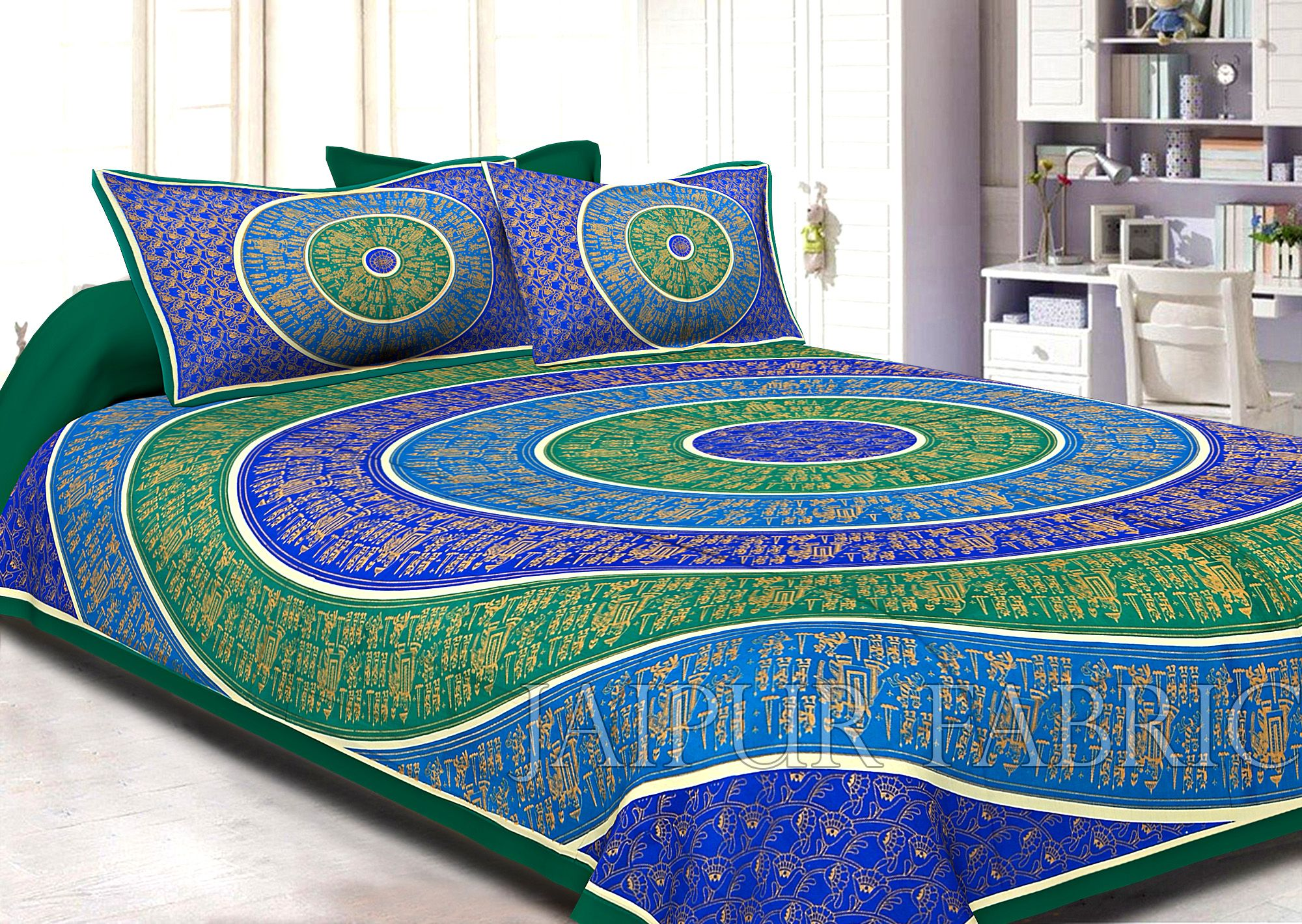 Green Border Golden Barat In Circle Pattern Super Fine Cotton Double Bedsheet