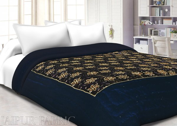Navy Blue With  Golden Dori Flower Print  Velvet(Shaneel) Double Quilt