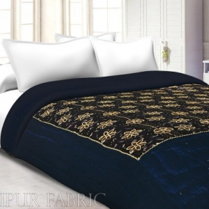 Navy Blue With Golden Dori Flower Print Velvet(Shaneel) Single  Quilt